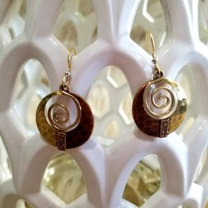 Vintage Boho Hammered brass earrings